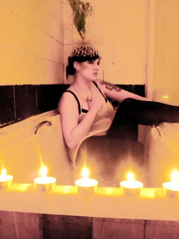 Female model photo shoot of Defier of Definitions in the bath!