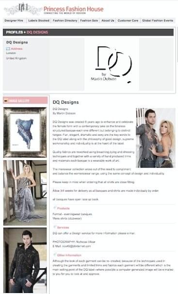 London Jun 06, 2010 Princess Fashion House London DQ Designs for Martin Dobson