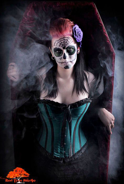 Female model photo shoot of Defier of Definitions by Carl Farmer in Red Tree Studios, makeup by Marie Viktoria Make up