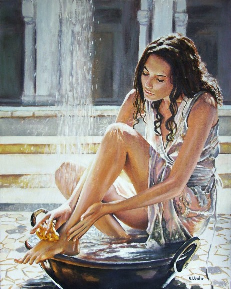 England Jun 09, 2010 Andy Lloyd Woman Bathing - an acrylic painting on canvas