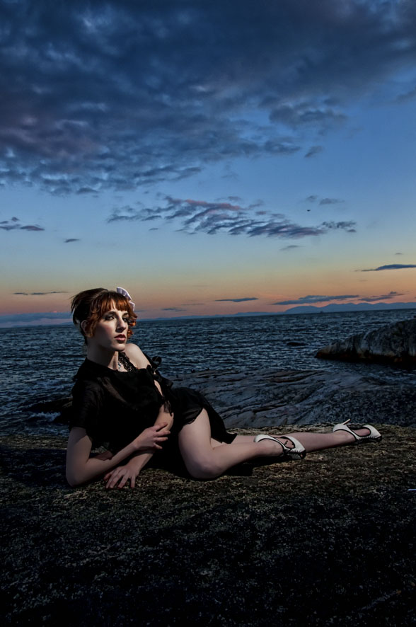 Male and Female model photo shoot of inmagine and Lily Avengale in lighthouse park vancouver, makeup by Dead Heaven MUA