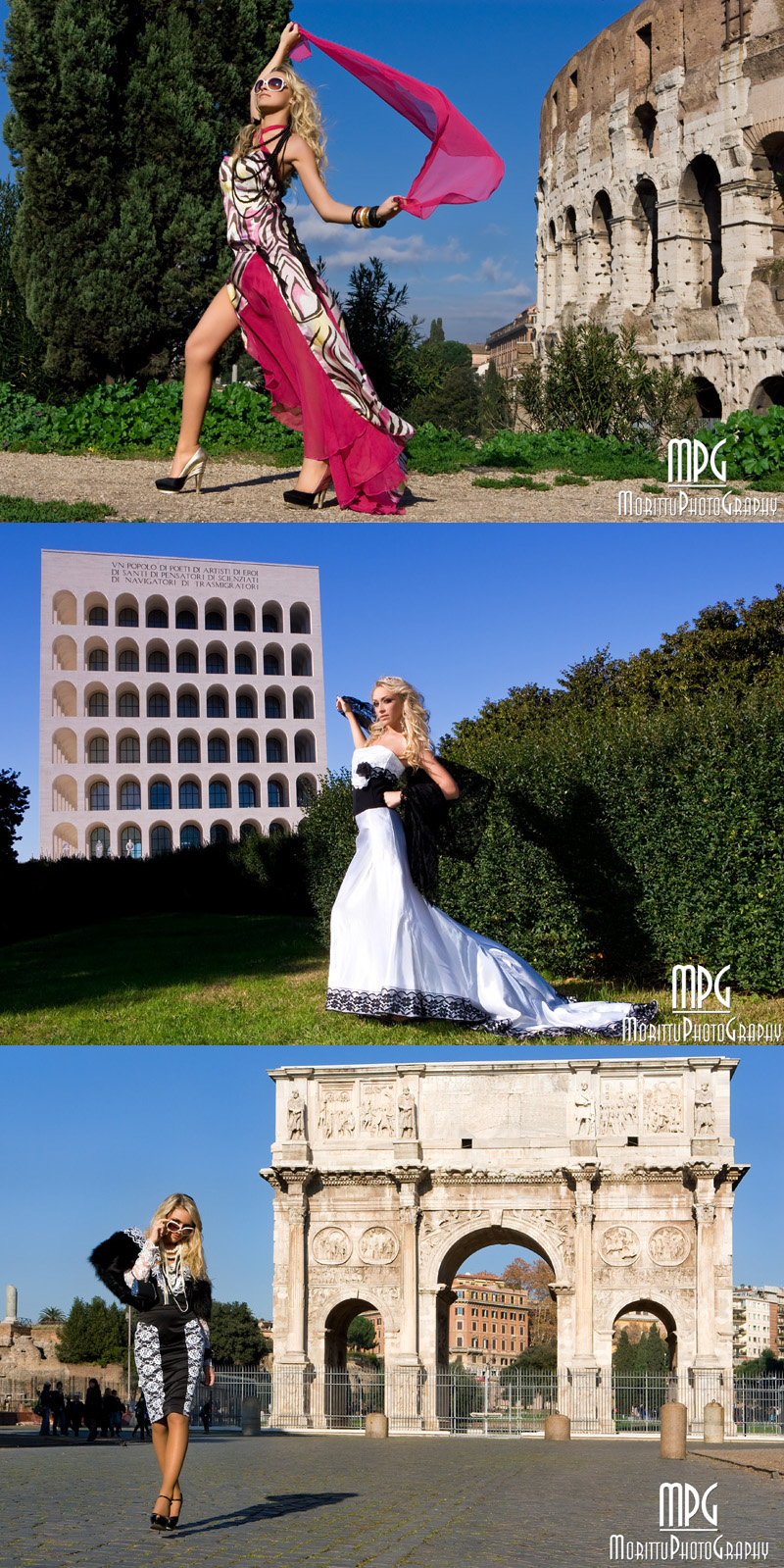 Rome - Italy . From top to down: Coliseum, EUR, Constantines Arch Jun 23, 2010 Marco Morittu - MorittuPhotoGraphy Multimedia 2010 Fashion Calendar - Model: Marianna