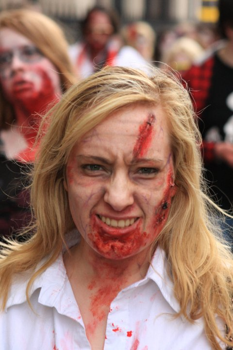 Female model photo shoot of Ainewalsh in Dublin Zombie Walk 2010, makeup by Ainewalsh