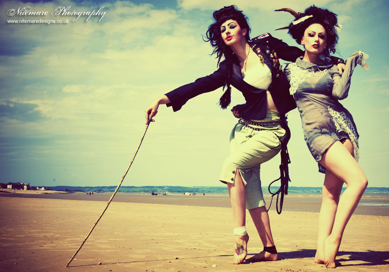 Female model photo shoot of Nitemare Photography, AndromedaX and Miss Cobweb in Kent, clothing designed by Sample Remix