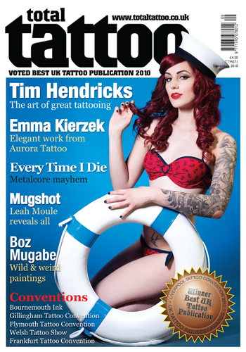 London Aug 06, 2010 Tina Korhonen © Total Tattoo Sep 2010 cover with Cervena Fox. Make up by Bella Simonsen. Hair by Anita Rice