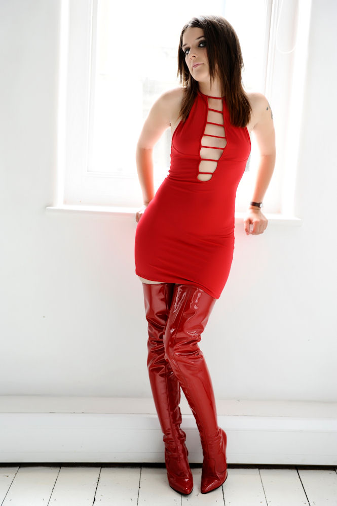 ModelMayhem.com - fs red pvc thigh high boots