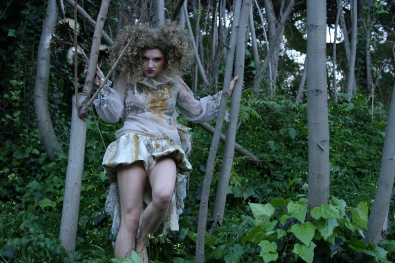 Female model photo shoot of Maggie Rose Lally in forest was later destroyed 2 weeks later