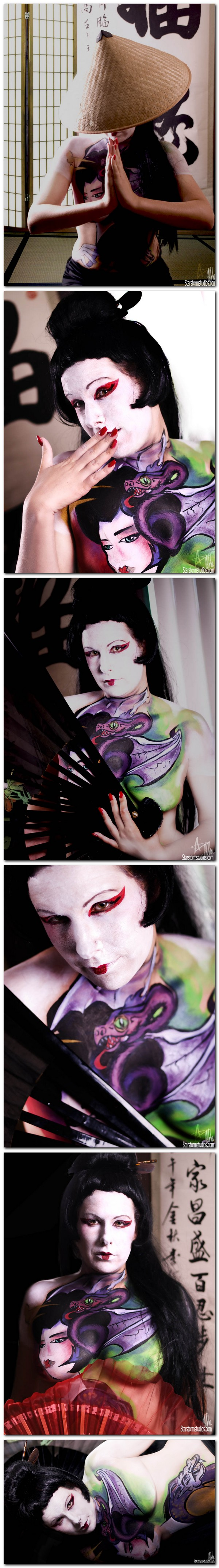 London,On Canada Aug 19, 2010 M.B .body art the photographer Anna Otok ,the model Carrie Cio Cio San theme