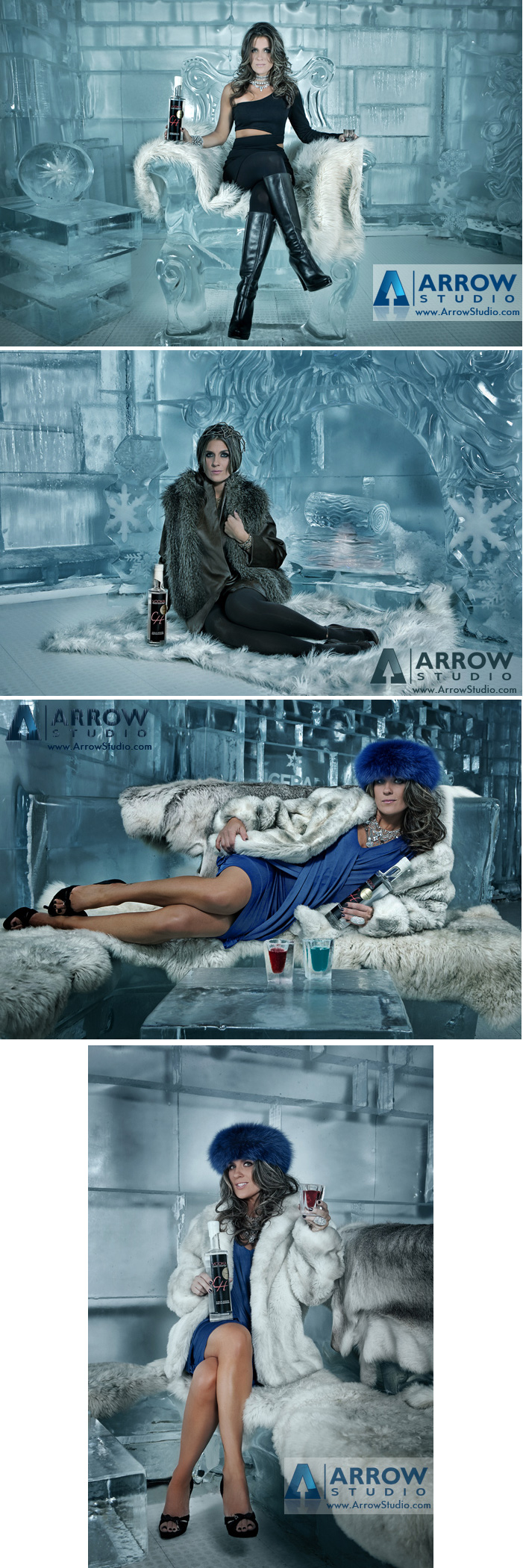 Orlando, FL; Icebar Orlando Aug 25, 2010 Arrow Studio LLC Brandi in a shoot for Cold House Vodka in Icebar Orlando. Wardrobe Tammara Kohler, hair Nicole Beth Miller, MUA Sunha Julie Fajardo