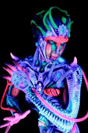 Lafayette LA Sep 01, 2010 Cully Firmin Nicky Neon Body Paint by Alex Hansen & Julian Bartram with BodyFX Prosthetics