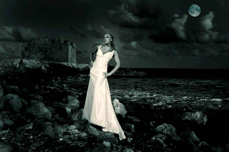 Cyprus Sep 01, 2010 Rene Avonya bridal couture label under castle moonlight