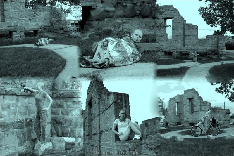 Male and Female model photo shoot of Robert Thivierge and SindySchism in Rundle Ruins, Calgary, Alberta