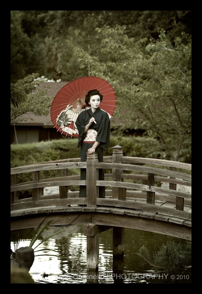 Saratoga, CA Sep 27, 2010 © 2010 all rights reserved Geisha on a bridge