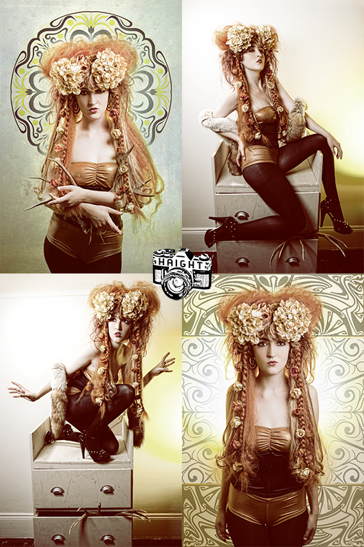 Male and Female model photo shoot of Travis Haight and IVY SLIME in Portland, OR, hair styled by The Wig Splitters