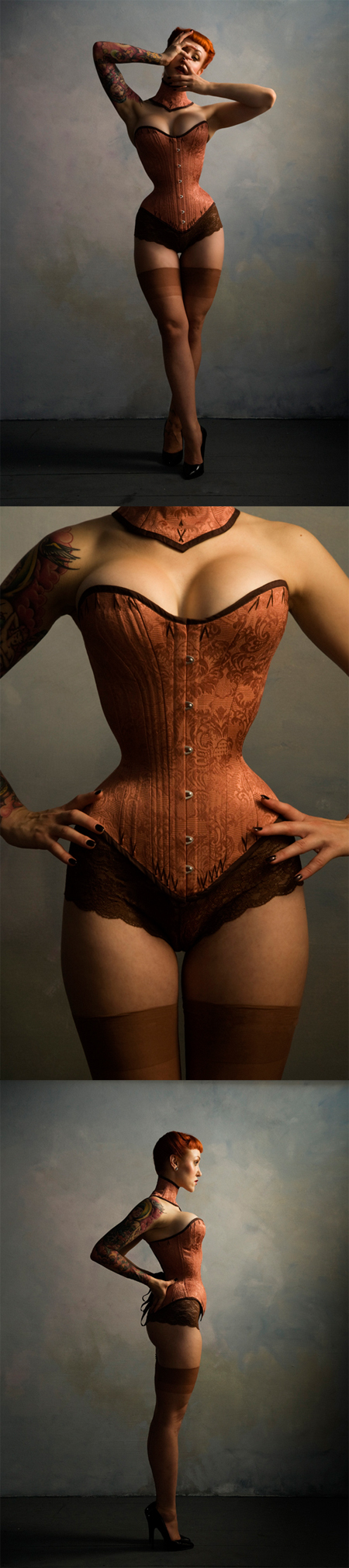 Female model photo shoot of Electra Designs Corsets and ElegyEllem in New York
