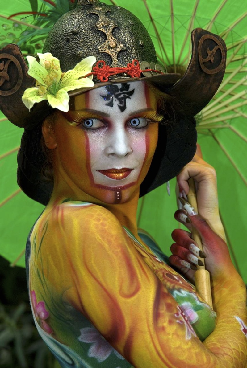 Seeboden Austria Nov 01, 2010 Alex Hansen 1st place airbrush with Nick Hererra ,Worldbodypainting festival 2008