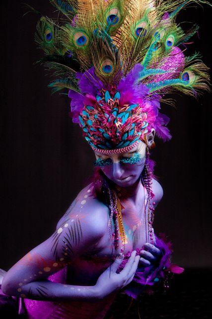 Austin, TX Nov 16, 2010 Chrysalis Art Peacock Headdress, Bodypaint and Costume Design by Anne Shackelford