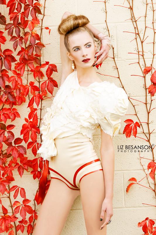 """Nov 16, 2010 """"Quasimoto"""" top & high underbust cream and red undies"""