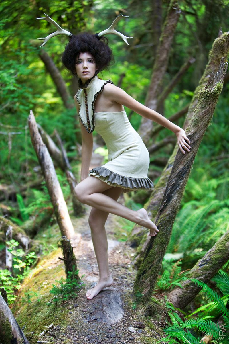 Female model photo shoot of MichelleGreen by Rob Arora in Hoh Rainforest, Forks Wa, makeup by Nightshade Beauty, clothing designed by mrslovettstailor
