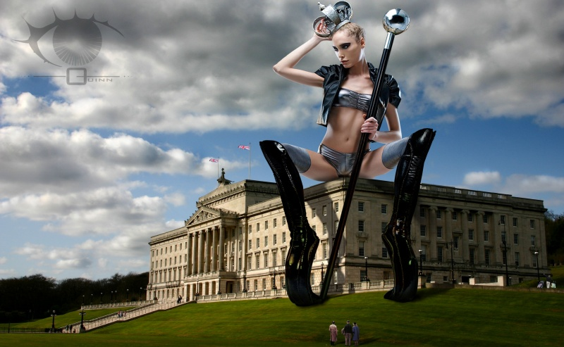 Parliamentary Buildings, Stormont Estate, East Belfast, Northern Ireland Nov 18, 2010 Composite Photoshoped Image, Credits: Norman A Quinn (building photographer and photoshop artist), Jens Hocher (model photographer) & Anastacia Janz (stylist/wardrobe designer) Seat of Power... Model Mayhem POTD winner, May 12, 2011