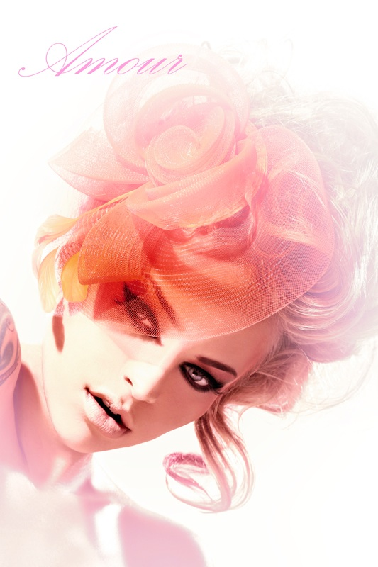 Female model photo shoot of Megan_Renee by Philipe in Upland, CA, clothing designed by Esemee Fascinators