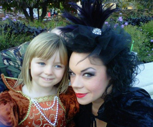 dearborn Dec 12, 2010 halloween, Addison and I. Hair and make up by me :)