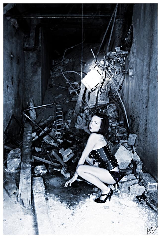 Female model photo shoot of Sassy Sailor by Seelt Studios  in Calgary Crossroads Market basement