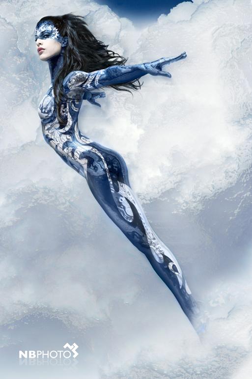 Barcelona Dec 26, 2010 nbphoto concept, bodypainting, retouch Madonna del Aire