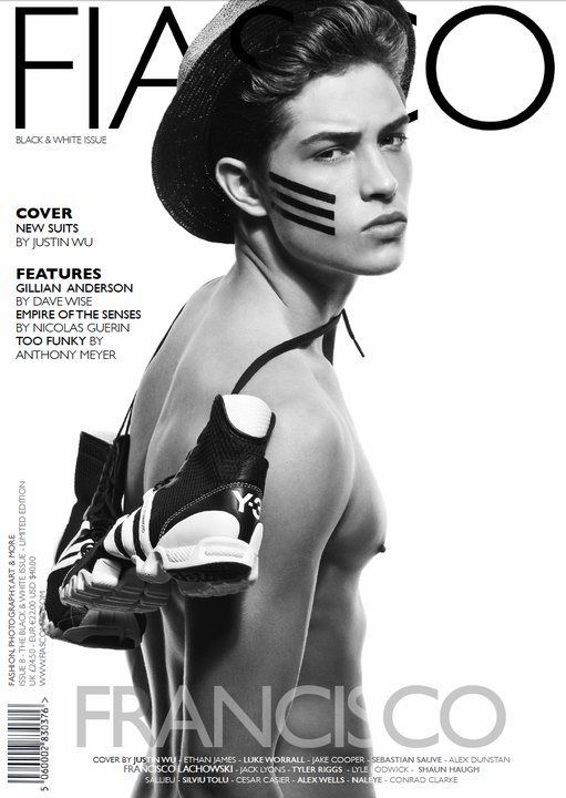 Brooklyn, NY Jan 02, 2011 Fiasco Cover Black & White Issue [No. 8] - Jan 2011 Photog: Justin Wu, Stylist/Fashion Editor: Raul Guerrero, Hair & grooming: Nedjetti Harvey, Make-Up: Steven Canavan, Model: Francisco Lachowski (Ford NYC), Styling Assistants: Marciano & Adrian