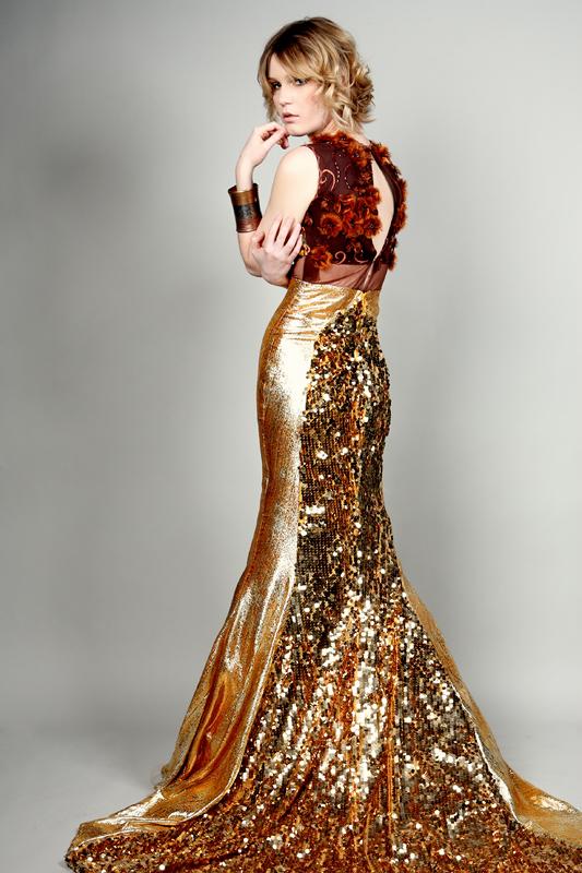San Diego California Feb 07, 2011 Basil Gold Sequined Serpentina Dress