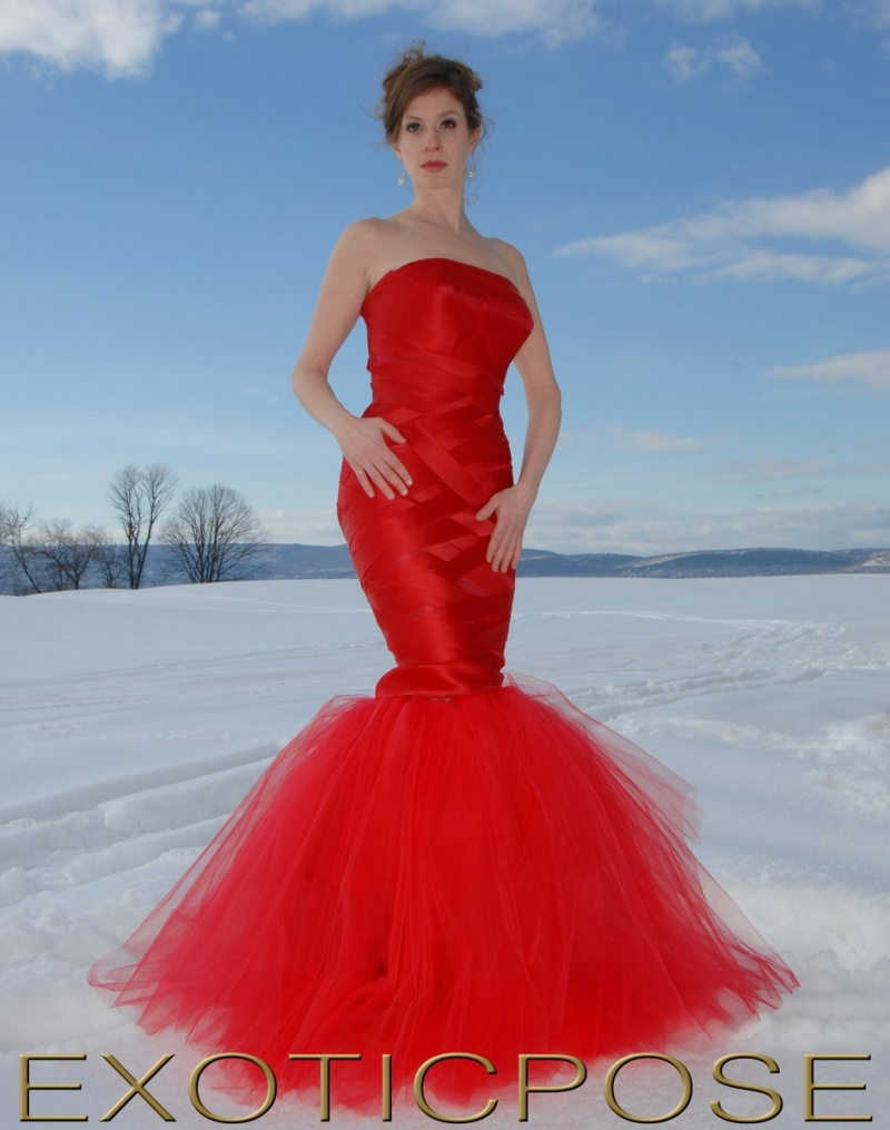 New Paltz, NY Feb 08, 2011 Exoticpose   Photography 2011 Lilah red dress in snow (.. Lilah Weiss (Model) ...Meghan McCord (Hair Artist) .. Laura Andrighetti (Art Direction)...Jaelene Jaquez (MUA)
