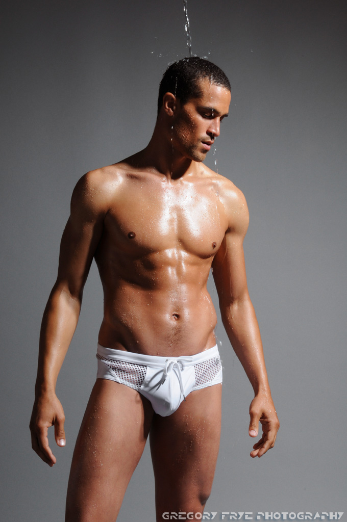 Male model photo shoot of Gregory Frye and Victor Ross II in Andrew Christian Studio, Glendale, CA