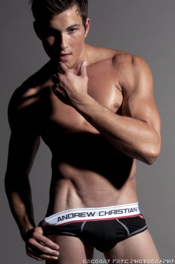 Male model photo shoot of Gregory Frye and Rob Wilson in Andrew Christian Studio, Glendale, CA