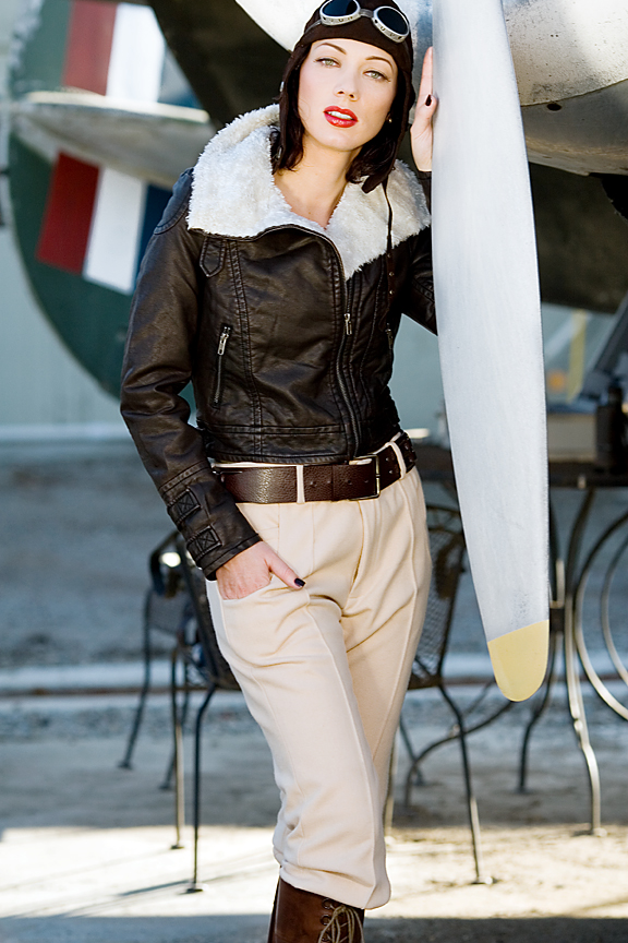 California airport, 1940s Lockheed Lodestar Aircraft Mar 03, 2011 Pacific Glamour Studios Aviator style fashion