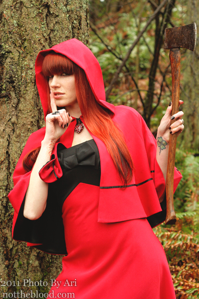 Female model photo shoot of Not The Blood, Miss Hypoxia and Kitty Mansfield in The Woods