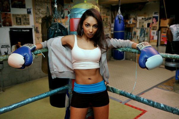 Female model photo shoot of Shazmin Hussein by Christopher J Morris in New West Boxing ring