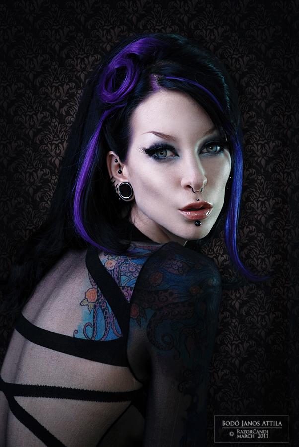 Female model photo shoot of Razor Candi, clothing designed by DraculaClothing