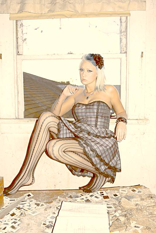 Female model photo shoot of Mary deatHart in an abandoned building in L.A.