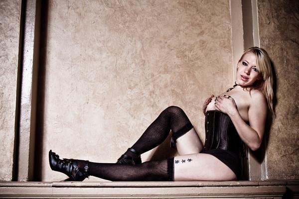 Female model photo shoot of Morbid Candi by Darkroomist in The Leland Hotel-Detroit, Mi