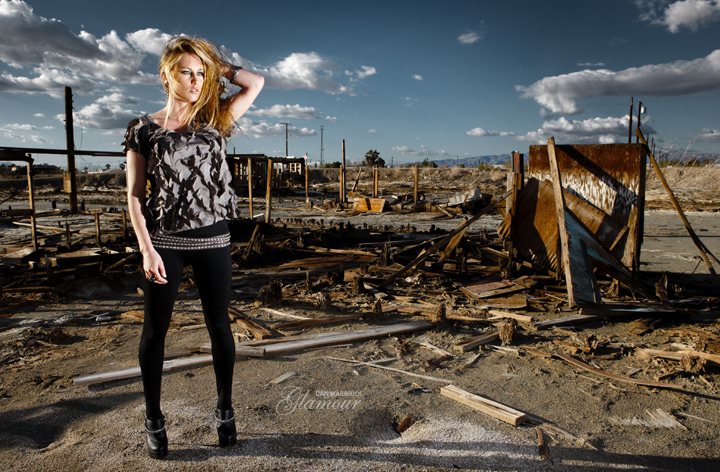 Female model photo shoot of Kathryn Trail by Dan Warbrick in Salton Sea