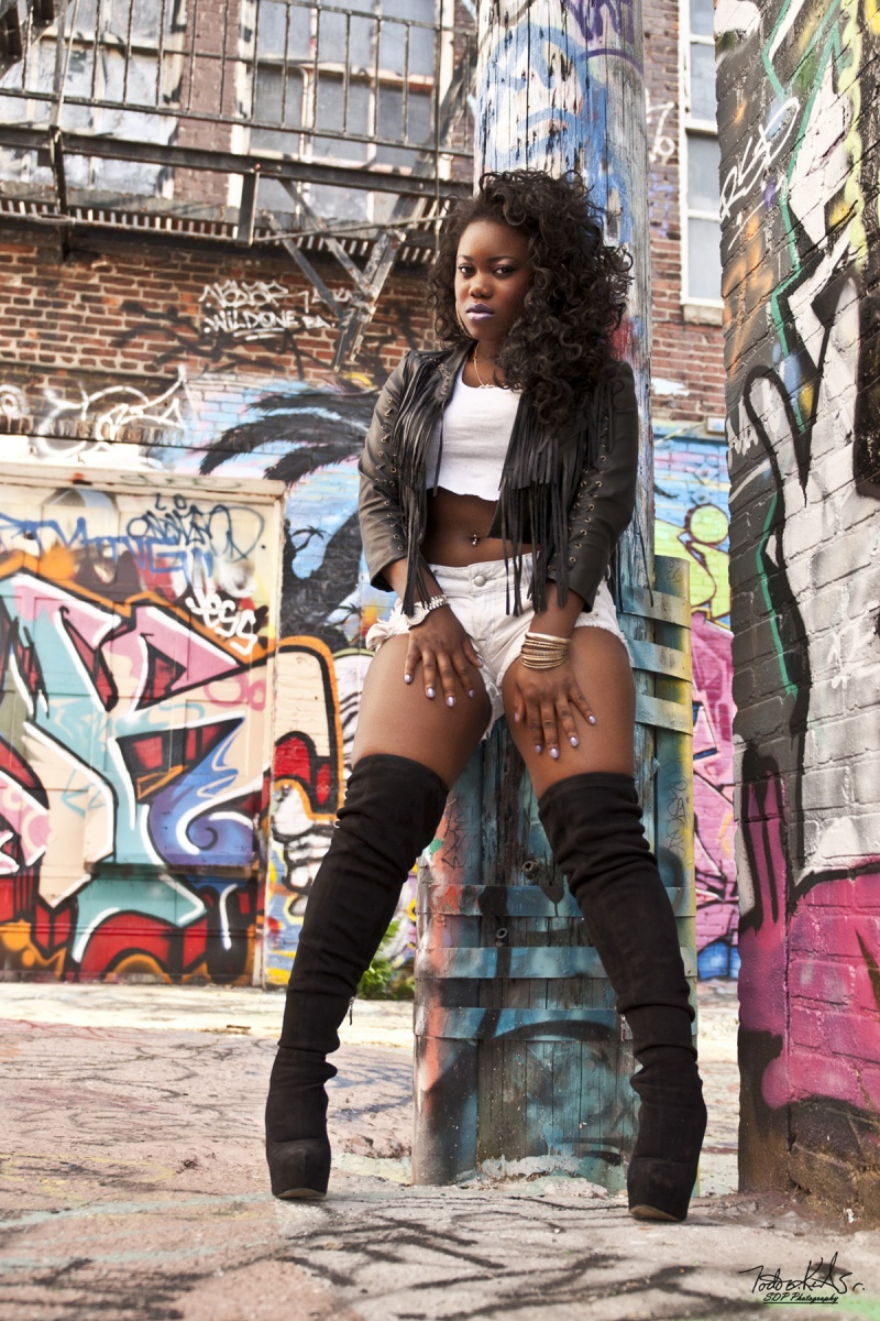 Male and Female model photo shoot of SDP Photography and Raquel Davies in Graffiti alley,Baltimore,MD.