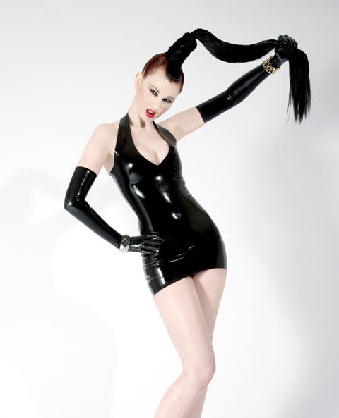 May 20, 2011 Kamil Janowski (model Emily Grieve) Dress http://www.kaorislatexdreams.com/shop/halterneck-minidress/