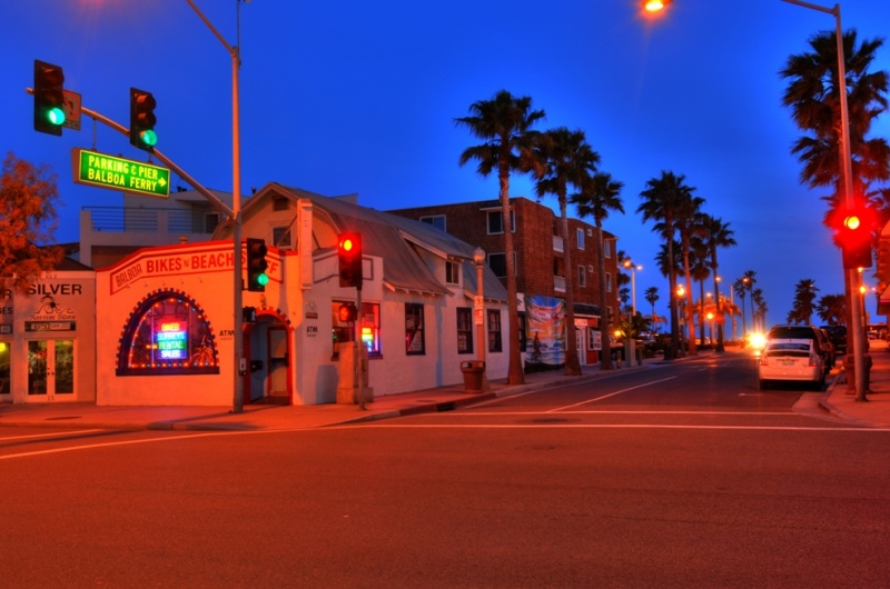 Balboa Peninsula, Newport Beach, California USA May 27, 2011 HD Photo Tours Balboa Bikes at Twilight