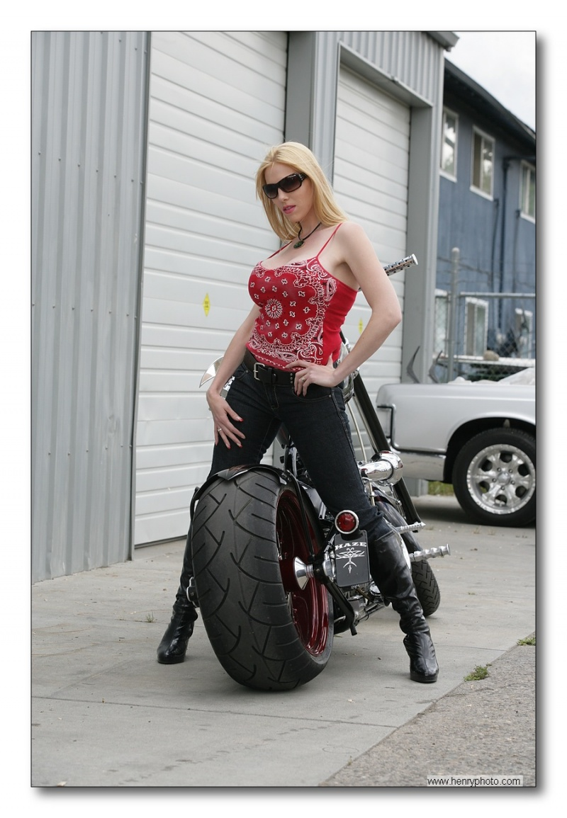 Female model photo shoot of Cat Franklin by Badass Imagery in Haze Custom Cycles, Medford, OR