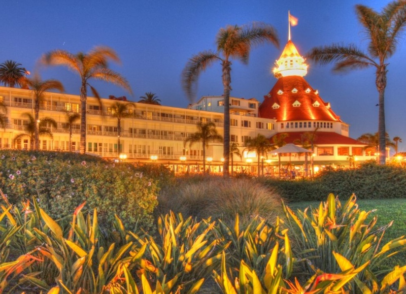 Coronado Island, San Diego, California USA Jun 05, 2011 HD Photo Tours Hotel Del Coronado at Dusk