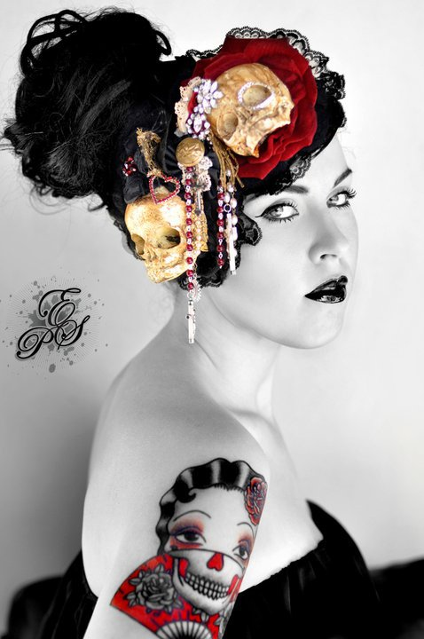 Brisbane Jun 20, 2011 Erin Sara Photography Stricken Fetal skull hairpieces - By Romancing Jezebel.