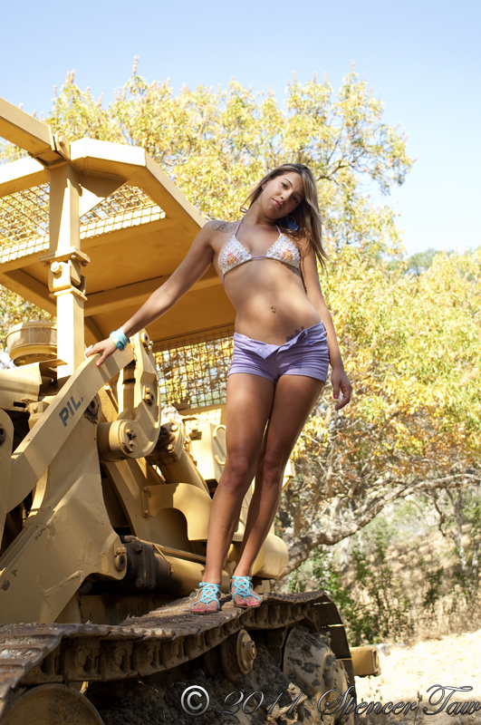 Female model photo shoot of Dangerous D in the real woods :)