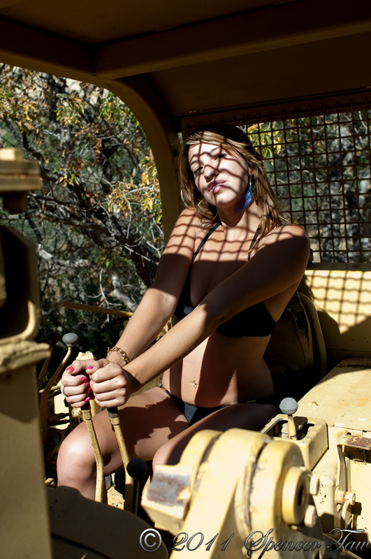 Female model photo shoot of Dangerous D in the wild