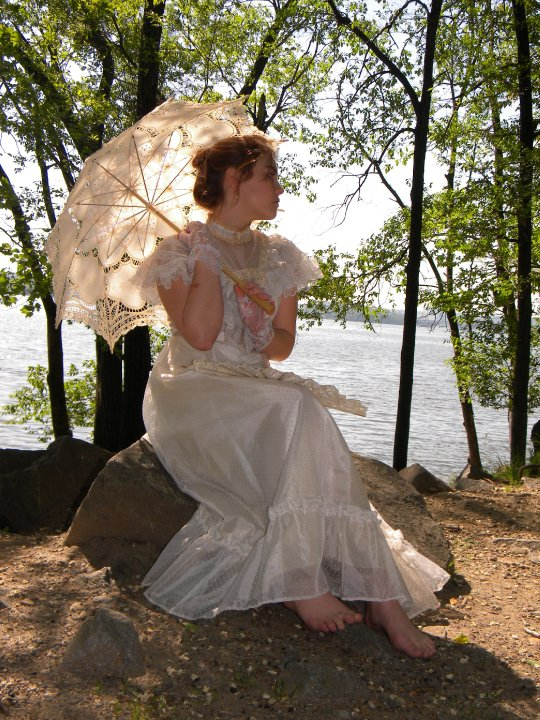 Alexandria Virginia Jul 17, 2011 Lovely Victorian style dress and lace parasol