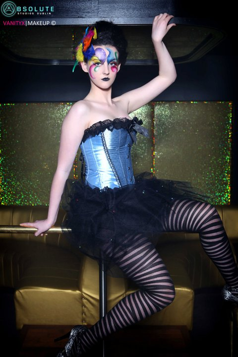 Female model photo shoot of Aishling Clarke Makeup in Alchemy Club & Venue Temple Bar